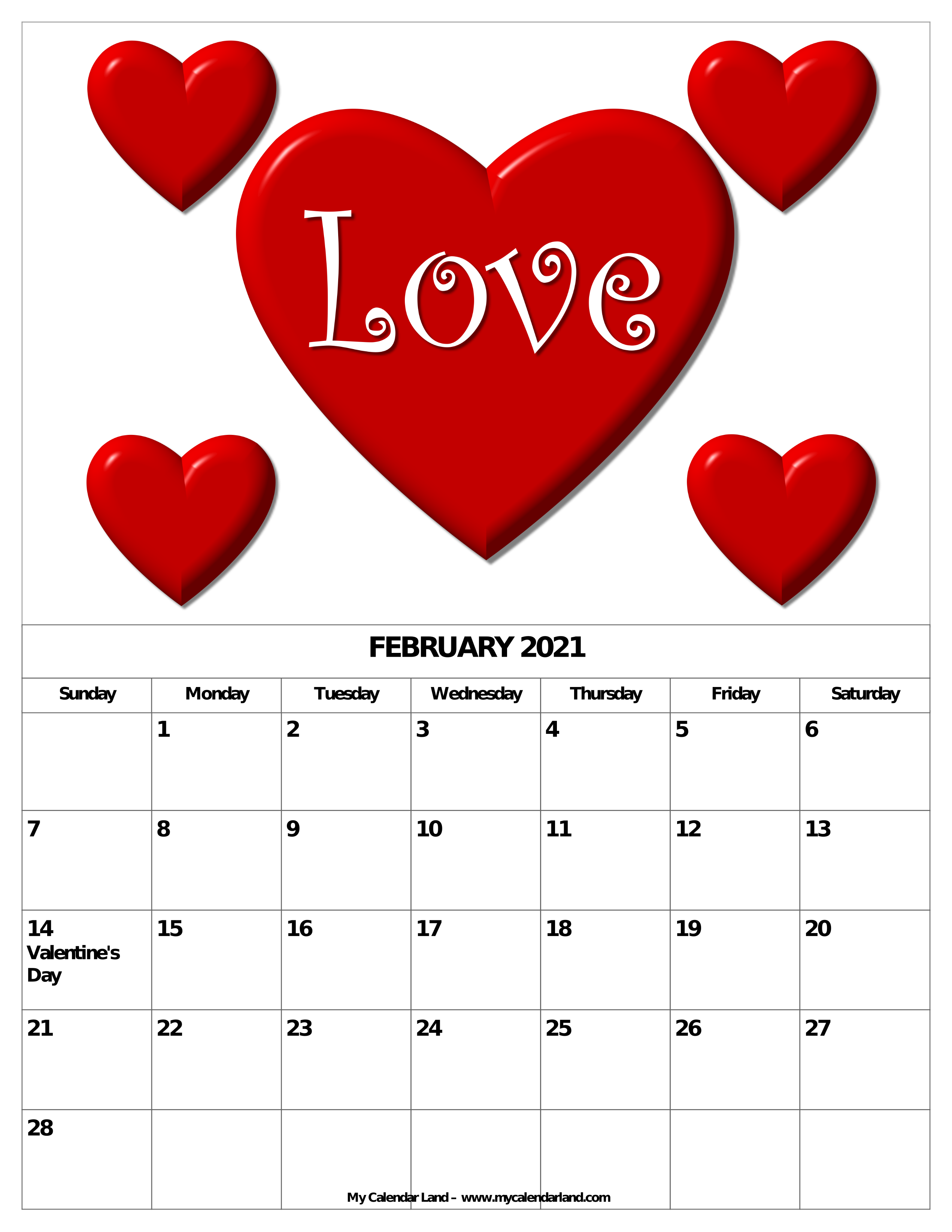 February 2021 Calendar Valentines Theme Valentine 039 S Day Or Saint Valentine 039 S Day Is Observed On February 14 Each Year